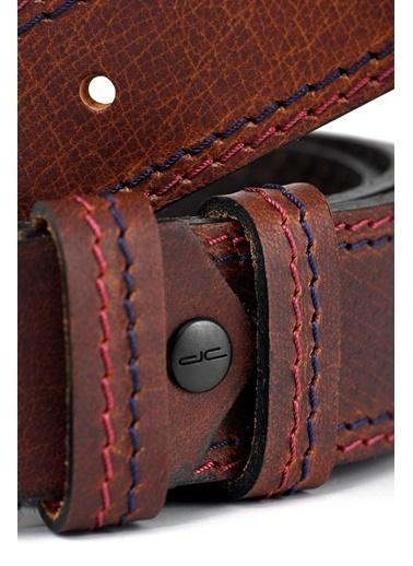 Deri Company Erkek Hakiki (Gerçek) Deri Casual Kemer Lacivert Kırmızı Punto Dikişli Kahverengi (1956K) 112511 Kahve